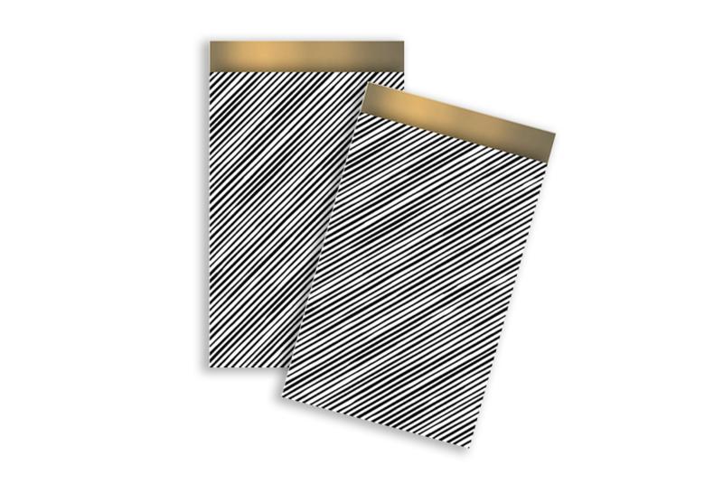 Kadozakjes streepjes zwart/wit  | 12x19 cm | 5 stuks
