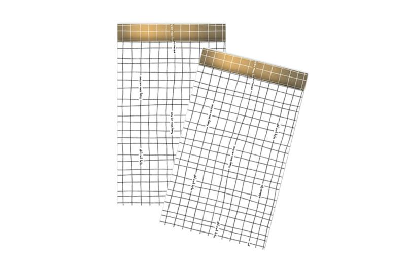 Kadozakjes grid zwart/wit  | 12x19 cm | 5 stuks