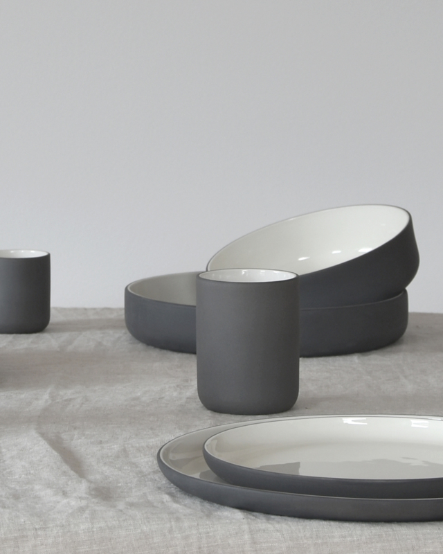 Dinner set | dark grey (6 x 2 items)