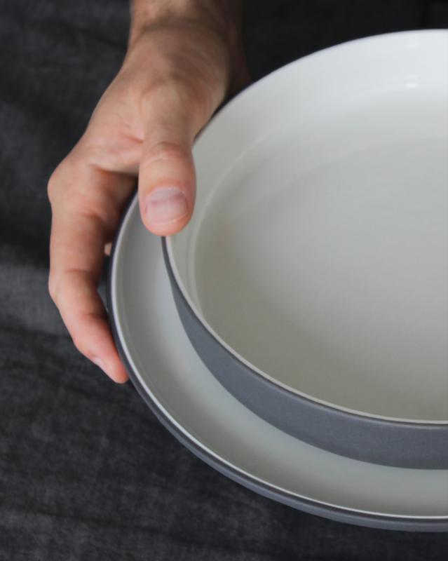 Dinerset schaal Ø 22 cm | donkergrijs (8 items)