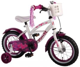 Volare Heart Cruiser Kinderfiets - Meisjes - 12 inch - Wit / paars