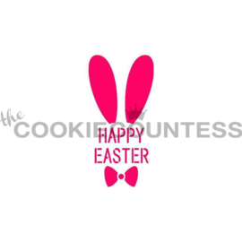 Happy Easter with Bunny Ears Stencil