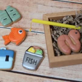 Vaderdag VIS set cookie cutter set 6 delig & 2 delig hulp stencil