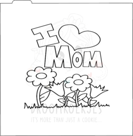 I love mom silk - stencil