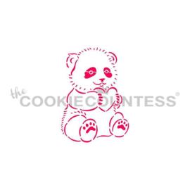 Panda with Heart Stencil
