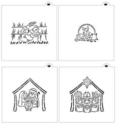Christmas Manger - 4 Piece Stencil - 4 Piece Stencil