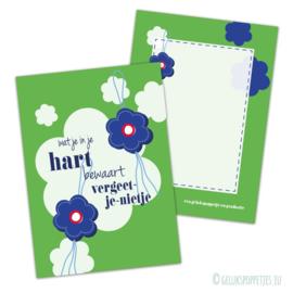 Vergeetmeniet gelukspoppetjes kaartjes