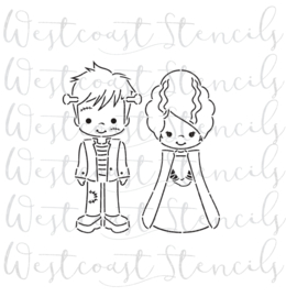 Frankestein and bride PYO cookie stencil