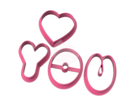 Love you 5,5 cm cookie cutters 4 delig