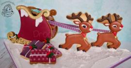 3D arre-slee met cadeautjes cookie cutters