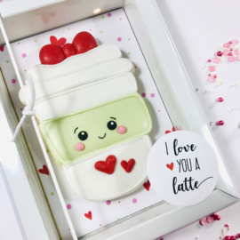 "Stickers ""I love you a latte"" per 24 stuks"