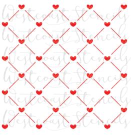 heart grid Stencil
