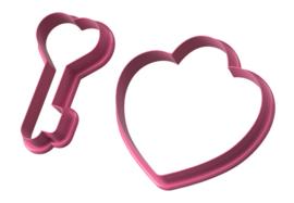 Hart met sleutel 7,5 - 8 cm 2 delig