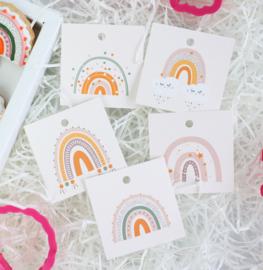 KD Collectie regenboog  5,5 by 5,5 cm - set van 5 kaartjes