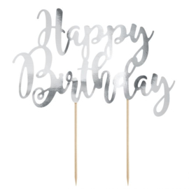 PartyDeco Cake Topper Happy Birthday - Zilver