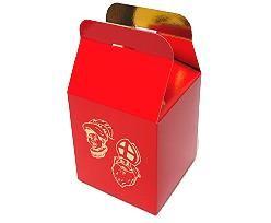 Doosje rood SINTERKLAAS kubus 7,5 x 7,5 cm.