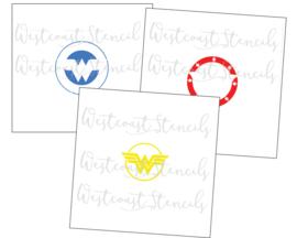 Wonder-women stencil (3 delig)