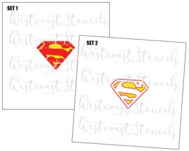 Superman logo stencil (2 delig)