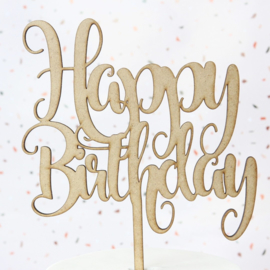 FUNKY HAPPY BIRTHDAY TOPPER - LARGE - wood