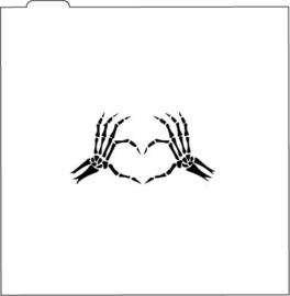 Skelet handen stencil