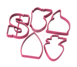 Chubby SINT  cookie cutters 5 delig