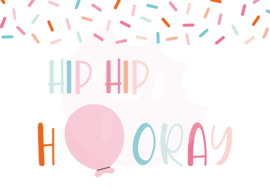 Hip hip hooray - kaart A6 formaat digitale download
