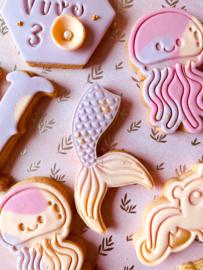 mermaid staart stempel & cookie cutter - 2 delig