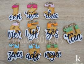 Nummers met tekst NL versie cookie cutters 10 delig