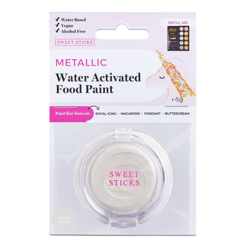 WATER ACTIVATED EDIBLE ART PAINT: Pearl White