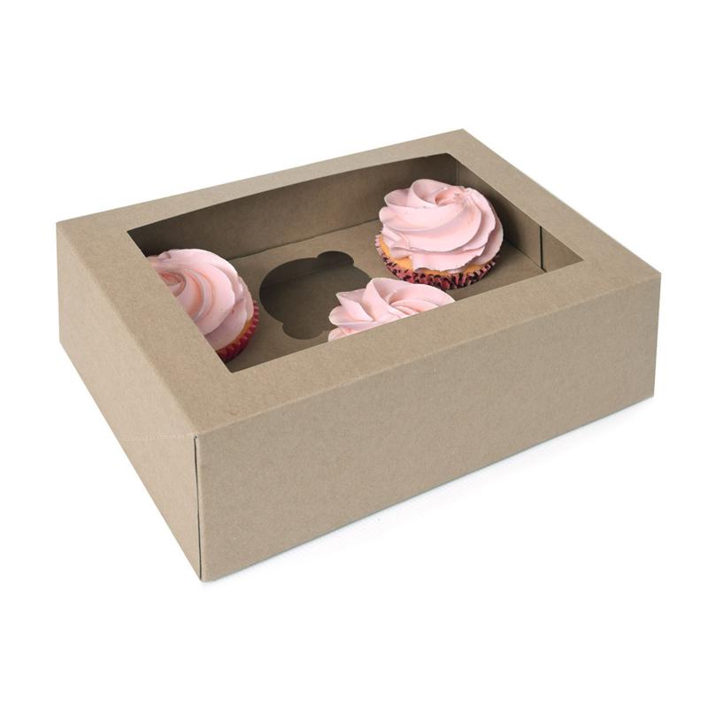 House of Marie Cupcake Doos 6 - Kraft pk/2