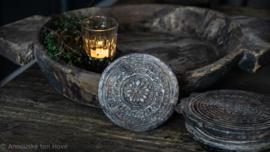 Oude stenen MANDELA onderzetter/stempel