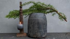 Oud houten vergrijsde Kruik XL