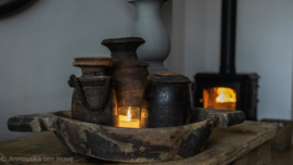 Stoere zware oude houten schaal Ø41