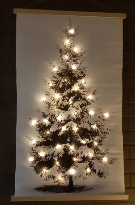 Wanddoek Kerstboom met LED verlichting/Groot