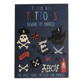 """2 vellen tijdelijke tattoos """"Beware Of Pirates"""""""