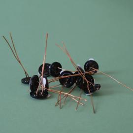 Plantknoopje | 12 stuks | zwart | Ø 17mm