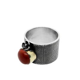 Zilveren ring met rode jaspis