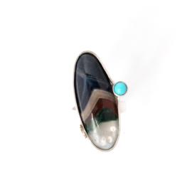 Ring met agaat en turquoise