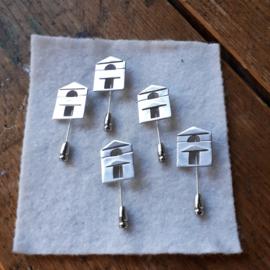 Reversspelden zilveren Zaanse huisjes