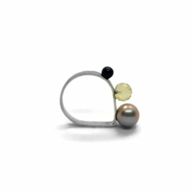 Zilveren ring met parels en citrien