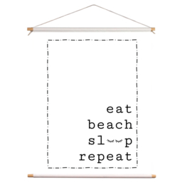 Textielposter - Eat Sleep Beach Repeat