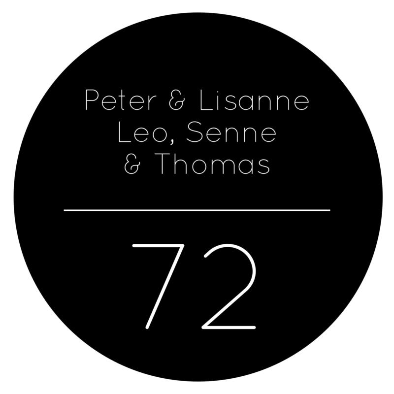 Naambord rond - zwart met huisnummer
