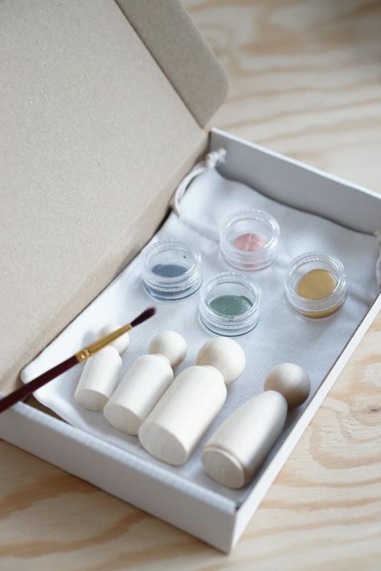 Houten familie - DIY pakket - 3 poppetjes
