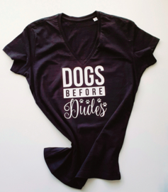 T-shirt Dames - Dogs Before Dudes