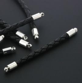 tussenzetsel kunstleer gevlochten 50mm zwart p/12