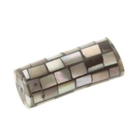 schelp kraal inleg handgemaakt cylinder 22x9mm p/6