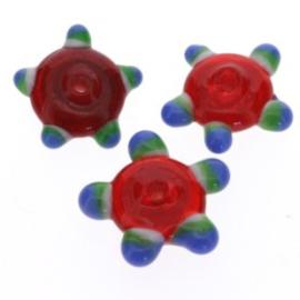 glaskraal plat met spikkels 12x5 mm rood p/25