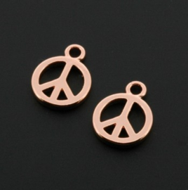 hanger / bedel 1 oog  Peace sign / vredesteken Rose Gold+3Mils p/12