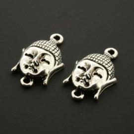 Decoratieve hanger buddha klein 2 ogen Antiek zilver 40 Mils 22 x 12 mm p/10