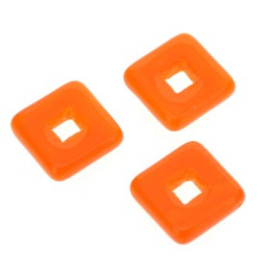 glaskraal vierkant 12 x 12mm oranje  p/25